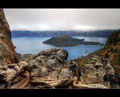 Wizard Island - Crater Lake Oregon - HDR (David Gn Photography) Tags: mountain oregon landscape volcano pacificnorthwest craterlake hdr wizardisland cindercone craterlakenationalpark photomatix mountmazama sigma1020mmf35exdchsm canoneosrebelt1i