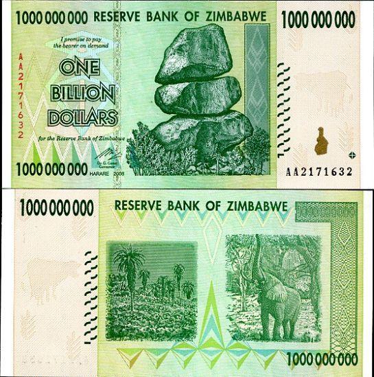 1 bilión dolárov Zimbabwe 2008