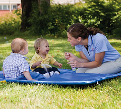 Infants & Teacher with Bubbles A