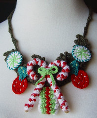 crochet Christmas Candy necklace (meekssandygirl) Tags: christmas winter holiday necklace strawberry candy crochet hard cashmere peppermint