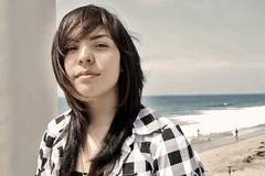Picture 020a - cousin Vanessa (Mizz Kickz) Tags: ocean california blue red portrait beach water girl cali sepia landscape los sand faces pacific angeles southern socal beaches redondo hdr verdes palos