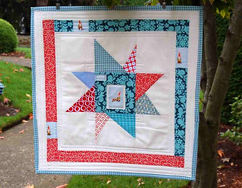 Busy Little Garden Gnomes Mini Quilt