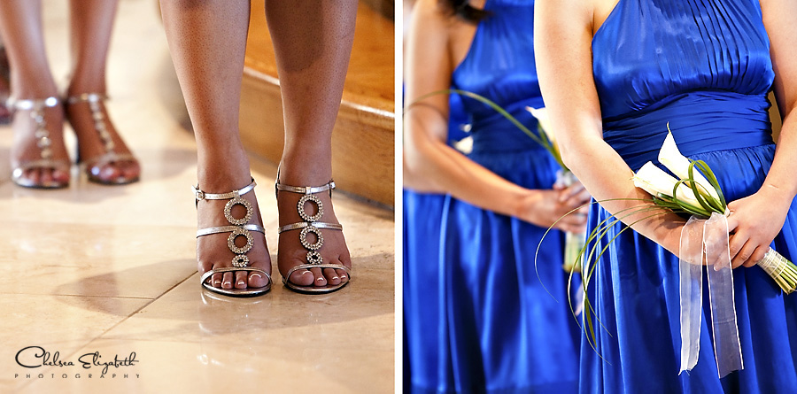 Bridesmaids wedding details royal blue dresses and silver shoes image