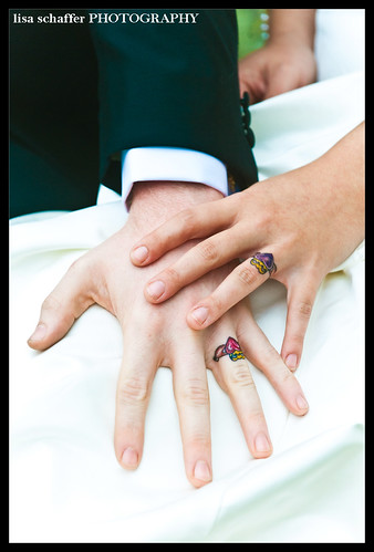 bridal party · classic bride · tattooed rings