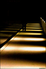 coming from the darkness.. (Hausstaubmilbe) Tags: bridge light night alone darkness going coming steyr aloneinthenight abigfave canoneos40d tamron28300mmf3563macrovc zwischenbrcken