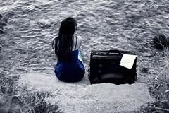 tO WaiT   (Beklemek) (aliaydogmus35) Tags: beach girl turkey 50mm seaside action wait tones deniz recent beg izmir sahil urla merdiven bavul beklemek valiz denizkenar canond500 aliaydogmus