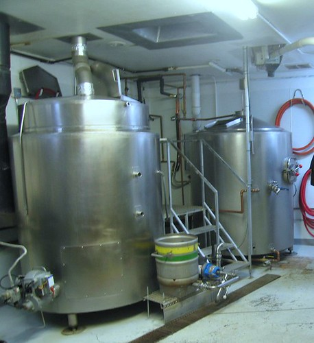The 7 bbl brew house, former in the dungeon at Elliott Bay Brewing.