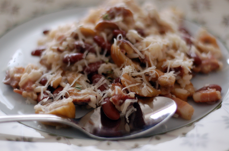 Chestnut Risotto with Red Beans