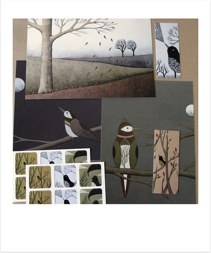 Postcard & Sticker Pack: Birds & Landscapes / Night & Day