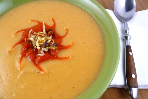 ... Potato, Leek & Cauliflower Soup with Roasted Red Pepper Puree Recipe