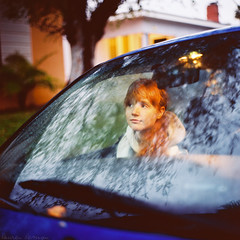 Lauren Randolph (laurenlemon) Tags: morning reflection 6x6 film car rolleiflex sunrise mediumformat caitlin early westhollywood weho ourneighborhood kodakportra160nc laurenrandolph caitlinrandolph laurenlemon movingthecarforstreetsweeping wwwphotolaurencom