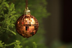 pixellated christmas:  362/365 (helen sotiriadis) Tags: christmas trees red holiday macro green yellow closeup canon ball gold shiny published dof bokeh depthoffield ornaments pixel 365 bushes canonef100mmf28macrousm canoneos40d toomanytribbles