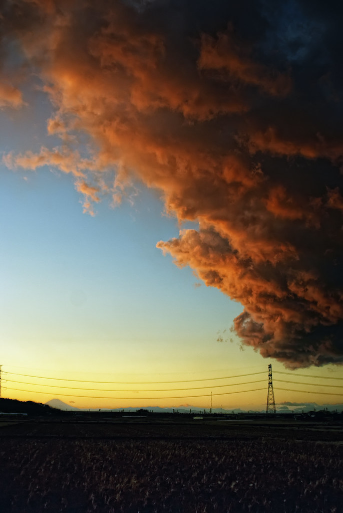 Large Clouds Dwarf Mt. Fuji, Sodegaura, Chiba