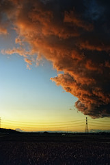 Large Clouds Dwarf Mt. Fuji, Sodegaura, Chiba (torode) Tags: pink blue sunset yellow japan clouds sony powerlines chiba handheld     mtfuji a300 sodegaura 28200mm  explored  bentorode benjamintorode