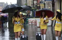 Edinburgh: Lynx Air Stewardesses (chairmanblueslovakia) Tags: white sexy sunglasses yellow mirror scotland edinburgh cheek boots body trolley air royal babe shades spray rainy hostess tounge canary dolly stewardess lynx mile sexist in laddish