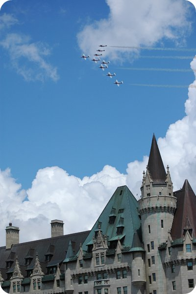 Snowbirds over the Chateau Laurier