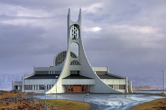 Stykkishlmur Church, Iceland (**Anik Messier**) Tags: church architecture iceland belltower peninsula glise modernarchitecture stykkishlmur islande incongruous concertvenue promontory snaefellsnes stykkisholmur blueribbonwinner westerniceland stykkishlmskirkja citrit snfellsnespeninsula theperfectphotographer stykkishlmurchurch