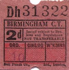 Birmingham City Transport - 2d bus ticket, c1965 (mikeyashworth) Tags: uk birmingham ultimate busticket birminghamcitytransport birminghambuses birminghambusticket bellpunchcompany mikeashworthcollection
