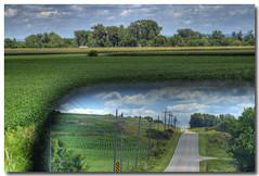 No Need to Look Over my Shoulder... (PGornell) Tags: reflection clouds vanishingpoint nebraska bluesky rearviewmirror fields summertime aplusphoto thepinnaclehof tphofweek4 thepinnacleblog