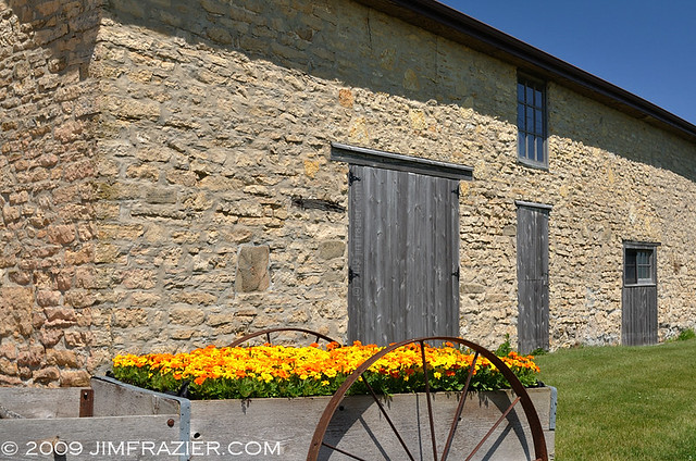 Flower Cart and Stone Barn