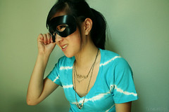 Batman and Beyond (Sarah Ching) Tags: blue black green love smile earings canon three fly necklace costume mask bright turquoise diamond batman prints masquerade ponytail masked piercings selling hold pints claires vneck forever21 explored sellingprints tumblr trisarahhtops