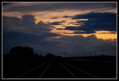 Bad Weather on Track (Clark Westfield) Tags: sunset storm weather nikon august iowa stormclouds nightfall railroadtracks d60 challengeyouwinner norwayiowa