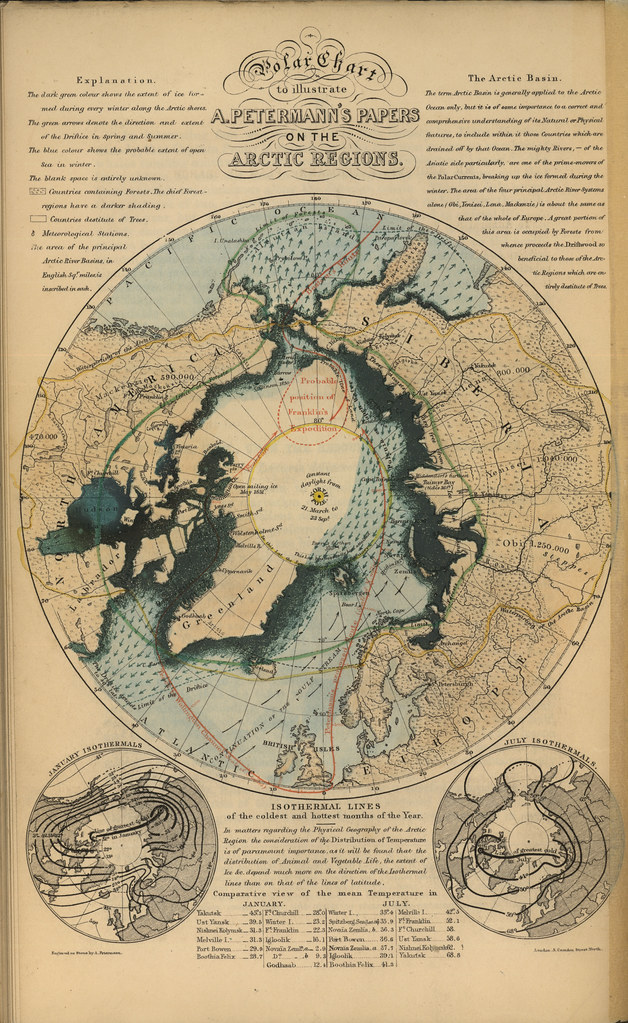 Polar Chart to Illustrate A. Petermann's Papers on the Arctic Regions (1852)