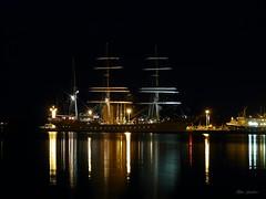 Statsraad Lehmkuhl (alan g 63) Tags: sea night reflections dark lights orkney nightshot illuminations tallship kirkwall statsraadlehmkuhl