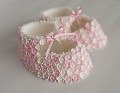 Pink Blossom Booties (Sweet Tiers) Tags: pink baby shoes hand blossoms made christening booties topper
