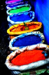 Bags of Colour (Shertila Tony) Tags: africa blue red color colour green yellow earth morocco bags chefchaouen 1000views moroc colorphotoaward platinumheartaward august2009