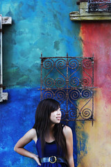 wallflower. (chiarashine) Tags: summer selfportrait building window beautiful wall self asian rebel colorful photoshoot secret chinese longhair row september santana santanarow 365 framing filming primary thewall asiangirl selftimer wallflower 500d 365days 365daysproject 365project 091909 canoneost1i canont1i