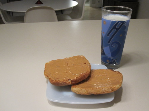 PB toast and milk at home