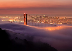 Golden Gate Lights (Rob Kroenert) Tags: sanfrancisco california city morning bridge tower fog sunrise landscape dawn golden bay gate san francisco long exposure downtown pyramid marin low goldengatebridge coittower baybridge headlands transamerica predawn coit marinheadlands transamericapyramid