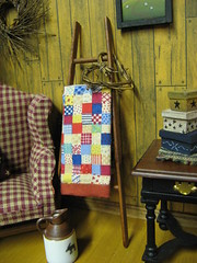 Miniature Primitive LADDER and  Dollhouse Quilt (miniaturecabindecor) Tags: wood farmhouse quilt heart country rustic mini wreath logcabin blanket patchwork prim primitive oneinchscale teammids cnyteam