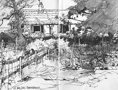 Barnoldwick Allotment (skyeshell) Tags: garden sketch drawing allotment tones barnoldswick vegplot locationdrawing winnr urbansketches sketchbookjournal visionqualitygroup