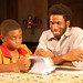 Antonio J. Dandridge as Mannetjie at age 9 and Nyambi Nyambi as Alfred Witbooi in Coming Home