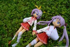 P1030817kE (thetsundere) Tags: max anime green grass japan sisters garden outdoors star twins factory manga lucky pigtails figures eyepatch bandages kagami tsukasa tsundere hiiragi twintails figma kegadol