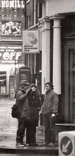 Tourists outside Natwest, Soho, 1978