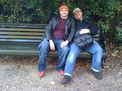 G&K (estherase) Tags: emssimp findleastinteresting 0f regentspark gordon kit bench gawatt practicalowl seated sitting seat two pair friend hat london uk 250311 friends