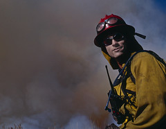 Kevin, BLM firefigther (Bob R.L. Evans) Tags: portrait yellow fire glasses smoke hats worker firefighter wildlandfire