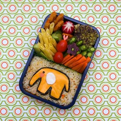 taj mahal bento (gamene) Tags: elephant cheese cucumber tomatoes broccoli carrot bento sweetpotato radish nori yellowwaxbeans mattarpanir