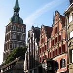 Stralsund: St. Nicolas Church and gabled houses in the Badenstreet