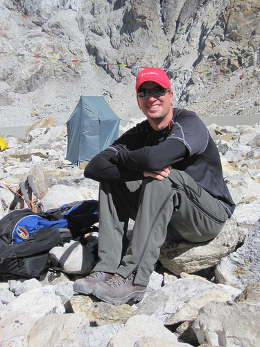 Charlie, at base camp... that's our shower, in the background