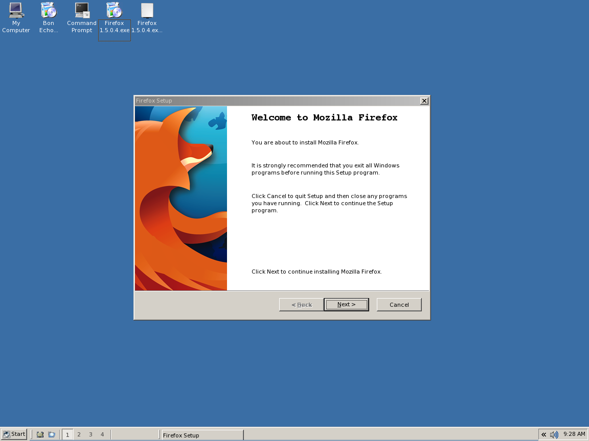 Firefox Installation in ReactOS