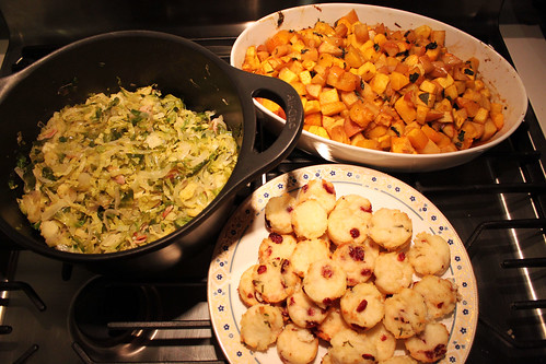 brussel sprouts, curried butternut squash and apples, cranberry polenta cakes
