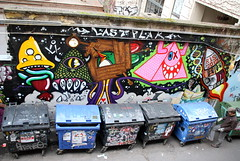 Lastplak Trash Alley (lastplak_artworks) Tags: street urban streetart berlin art wall trash graffiti mural nwo bin lp rubbish characters bins 2012 berlijn lastplak