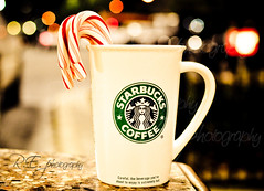 Peppermint Candy Canes ~ A Christmas Tradition (r.e. ~) Tags: christmas winter hot coffee losangeles warm candy starbucks canes mug