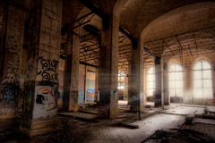 I didn't forget you, MCS. -God (Mike Lanzetta) Tags: light grafitti natural decay columns perspective forgotten depot hdr mcs available urbex 313 detriot photomatix