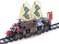 Far-Eastern Heavy Railjunk (broadside) (aillery) Tags: train war sailing lego ninja military rail vessel sail battleship fareastern railship railjunk railpunk