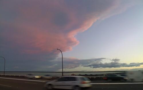 Last amazing cloud formations. Sunset. Sydney, Australia. Pano app